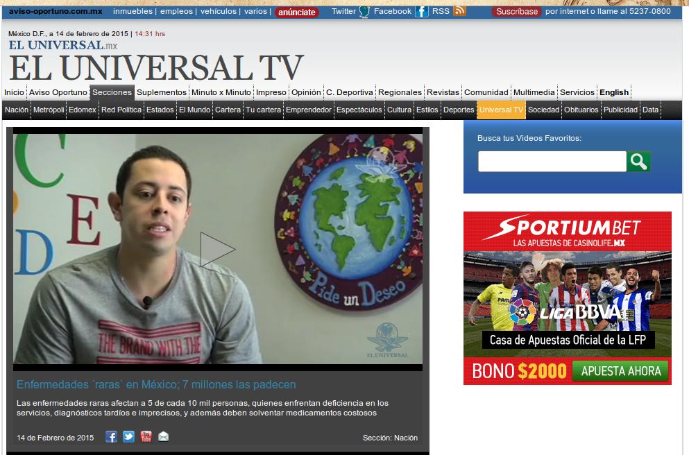ElUniversalTV, video sobre enfermedades raras, 14 febrero 2015