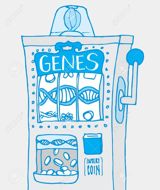 máquina expendedora de genes, caricatura